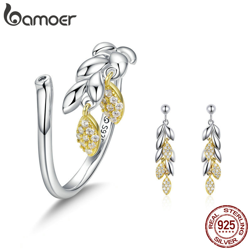 BAMOER Authentic 925 Sterling Silver Hope Wheat Women Drop Earrings Clear CZ Rings Jewelry Set for Women Wedding Jewelry ZHS074BAMOER Authentic 925 Sterling Silver Hope Wheat Women Drop Earrings Clear CZ Rings Jewelry Set for Women Wedding Jewelry ZHS074