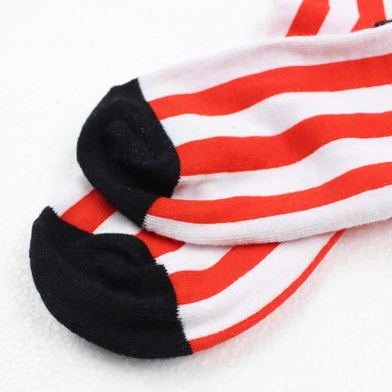 Мультфильм Американский флаг HUF носки Уникальный Забавный для мужчин женщин сезон: весна-лето Красные, синие дышащие удобные короткие