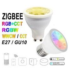 12 шт./компл. ZIGBEE ZLL RGB + CCT RGBW WWCW прожектор, E27/E26/GU10, 5 Вт, двойная белая и цветная лампа, диммируемая, для Amazon Echo plus