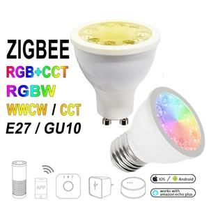 Image 1 - 12 ピース/セット ZIGBEE ZLL RGB + CCT RGBW WWCW スポットライト、 E27/E26/GU10 、 5 ワット、デュアル白と色ランプカップ、調光可能、 amazon のエコープラス