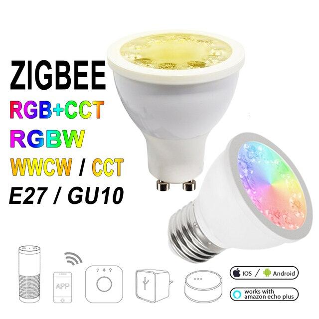 12 قطعة/المجموعة زيجبي ZLL RGB + CCT RGBW WWCW الأضواء ، E27/E26/GU10 ، 5 واط ، المزدوج الأبيض واللون كأس مصباح ، عكس الضوء ، لأمازون صدى زائد