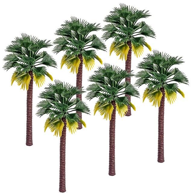6 pçs/lote 12 cm Plástico Palmeira de Coco Árvore Arquitetura Diorama Modelo Kits de Brinquedos de Trem de Ferro Acessórios de Transporte da gota