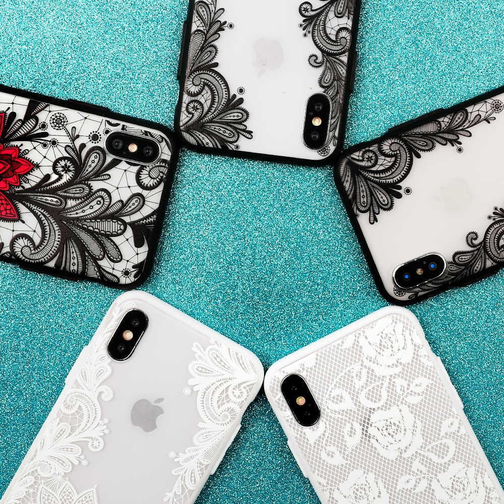 LOVECOM ретро 3D рельефный кружевной чехол для телефона с цветочным рисунком для iPhone 11 Pro Max XR X XS Max 7 8 6S Plus чехол из мягкого ТПУ + жесткого поликарбоната чехол для телефона