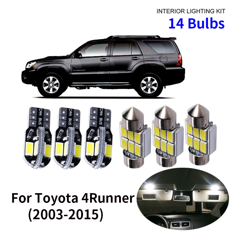 14pcs Car Accessories White Interior LED Light Bulbs Package Kit For 2003 2015 Toyota 4Runner T10 31MM Map Dome Trunk Lamp in Signal Lamp from Automobiles Motorcycles