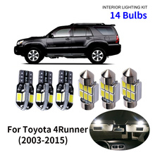 14pcs Car Accessories White Interior LED Light Bulbs Package Kit For 2003-2015 Toyota 4Runner T10 31MM Map Dome Trunk Lamp цена