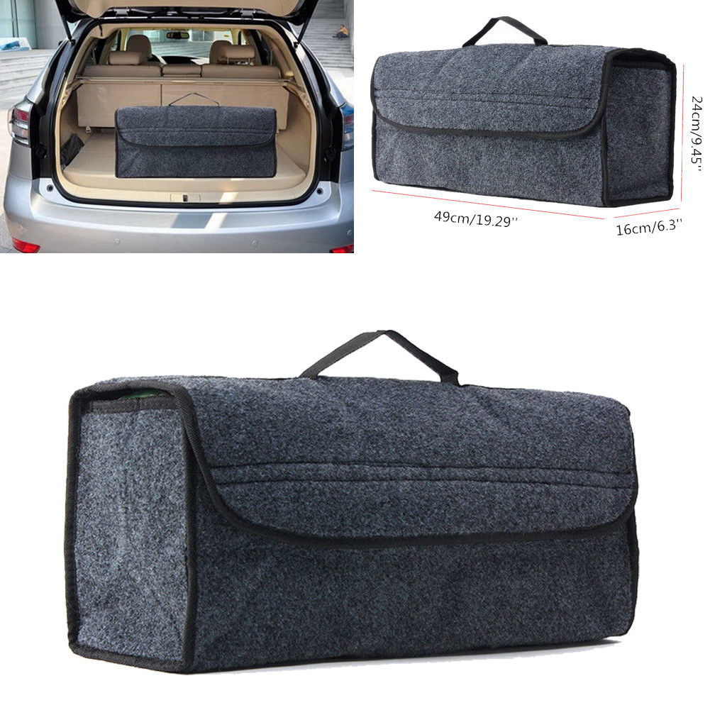 UK Grey Large Anti-Slip Car Trunk Boot Storage Organiser Case Tool Travel Bag title=