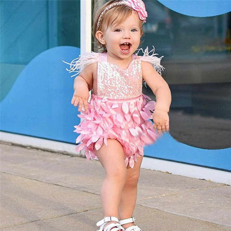 0-18M Summer Sweet Baby Girls Bodysuits Sequined Tassel Sleeve Pink Slim Jumpsuits Princess Backless Playsuits Tops Clothing