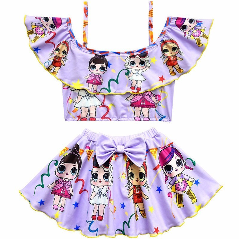 Girls Beachwear Bikini Bow Surprise Swimsuit Birthday Present Two-Piece Kids Cute Doll Cosplay Summer Pool Party Ruffle Swimwear