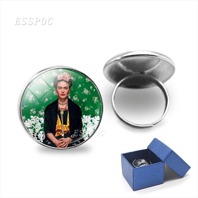 Artist Picture Self-portrait Adjustable Round Silver Color Glass Cabochon Rings Resizable