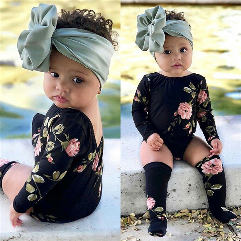 Toddler Baby Girl Summer Clothes Backless Geometry Round Neck Long Sleeve Bodysuit Flower Print Stockings 2pc Kids Cotton Outfit