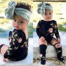 Летняя одежда для маленьких девочек с открытой спиной, Геометрическая круглая горловина, боди с длинными рукавами, Чулки с цветочным принтом, 2 предмета, Детская Хлопковая одежда
