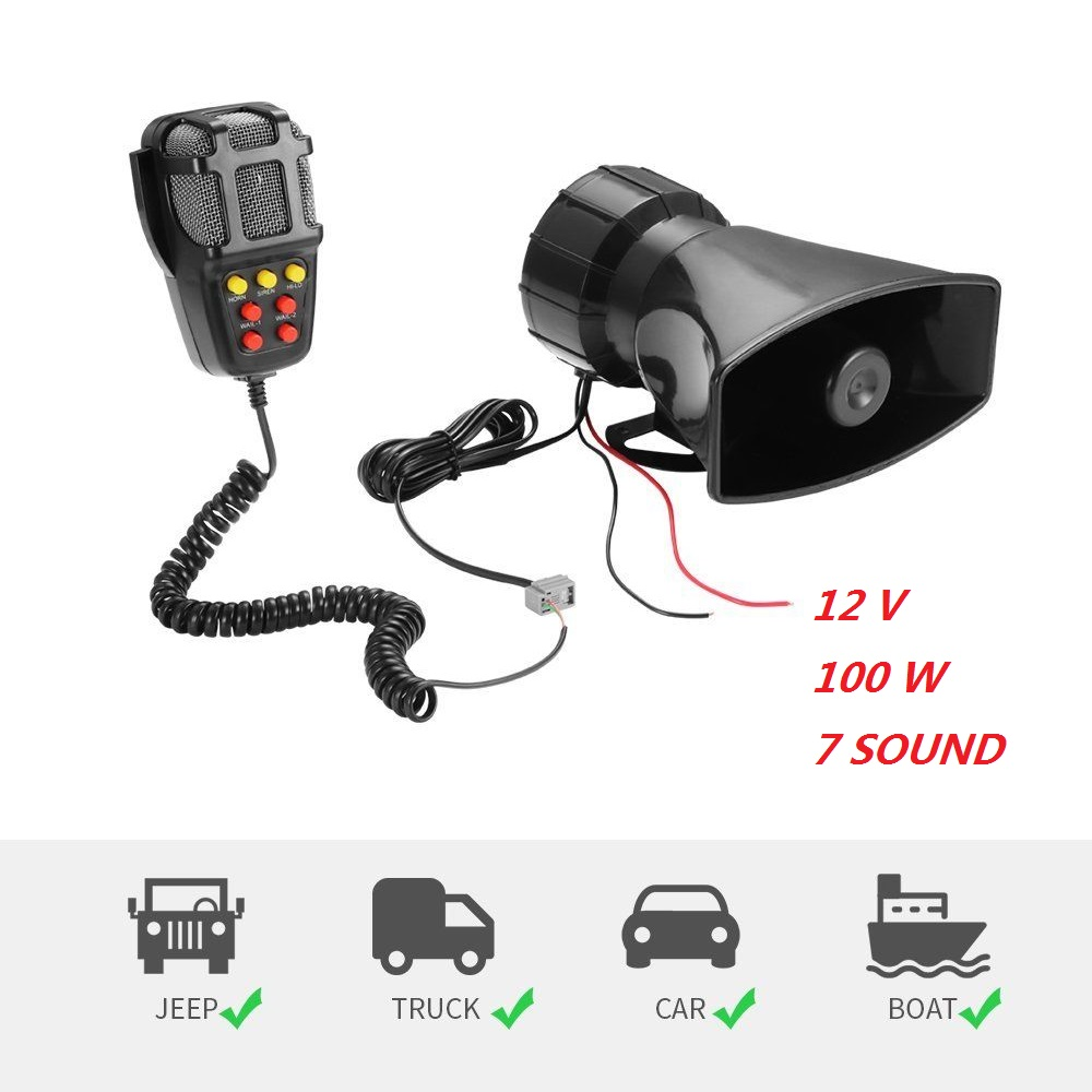Amplifier Horns-System Loudspeaker Siren Vehicle Warning-Alarm 7-Sound Hooter 12V DC