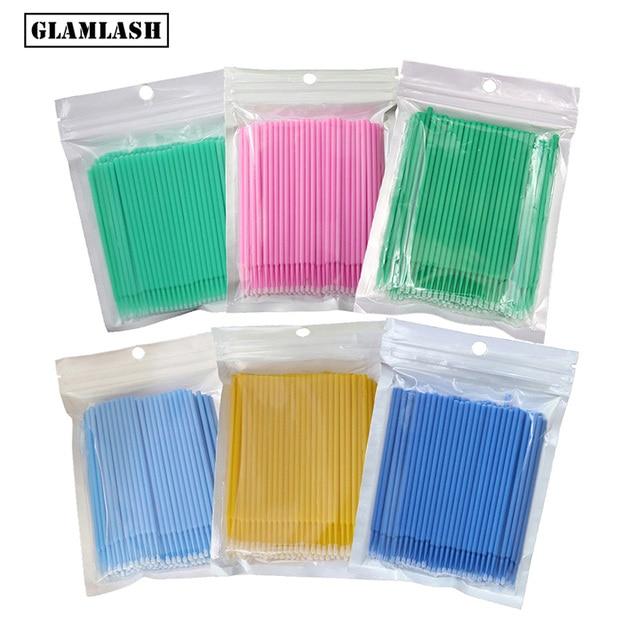 100 unidades/pacote durável descartável micro compõem escovas cílios extensão olho lash cola escova micro aplicadores varas ferramentas de maquiagem