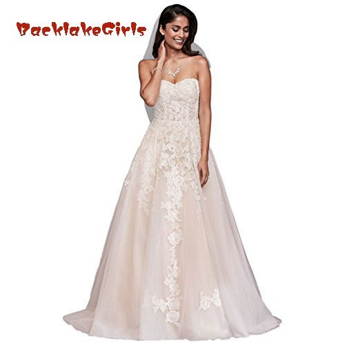 6e537c4d9eb11 BacklakeGirls Wedding Bridal Sheer Lace and Tulle Ball Gown Wedding Dress  Style