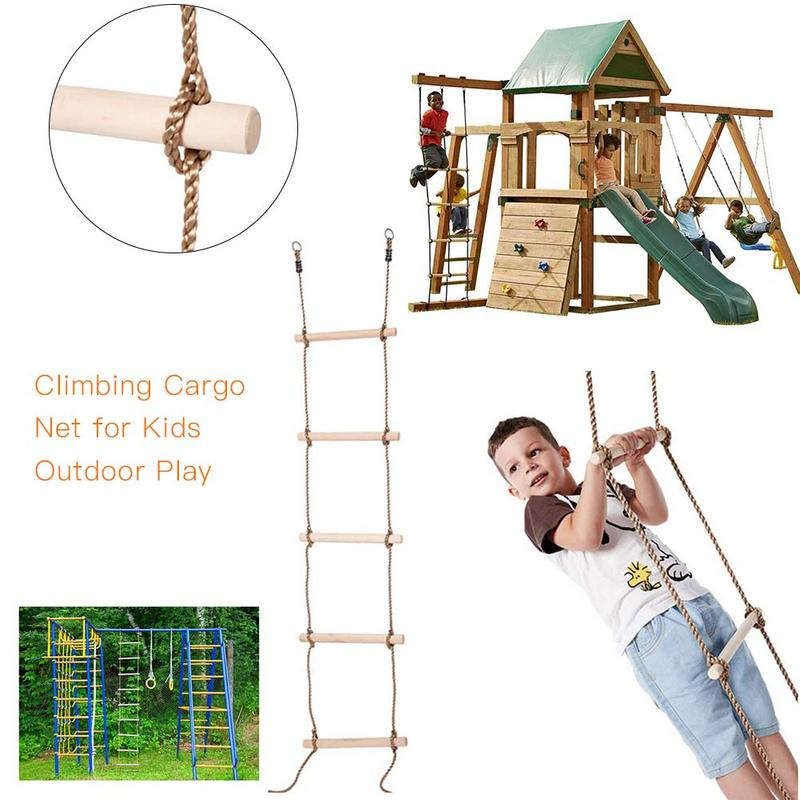 Kids Outdoors Climbing Cargo Net Jungle Gym Safety Practical Rope Wooden Ladder 5p
