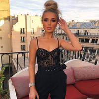 Sexy Black Bodysuit Women Adjusting Strap See Through Leopard Print Embroidery Mesh Slim Bodycon Jumpsuits Overalls