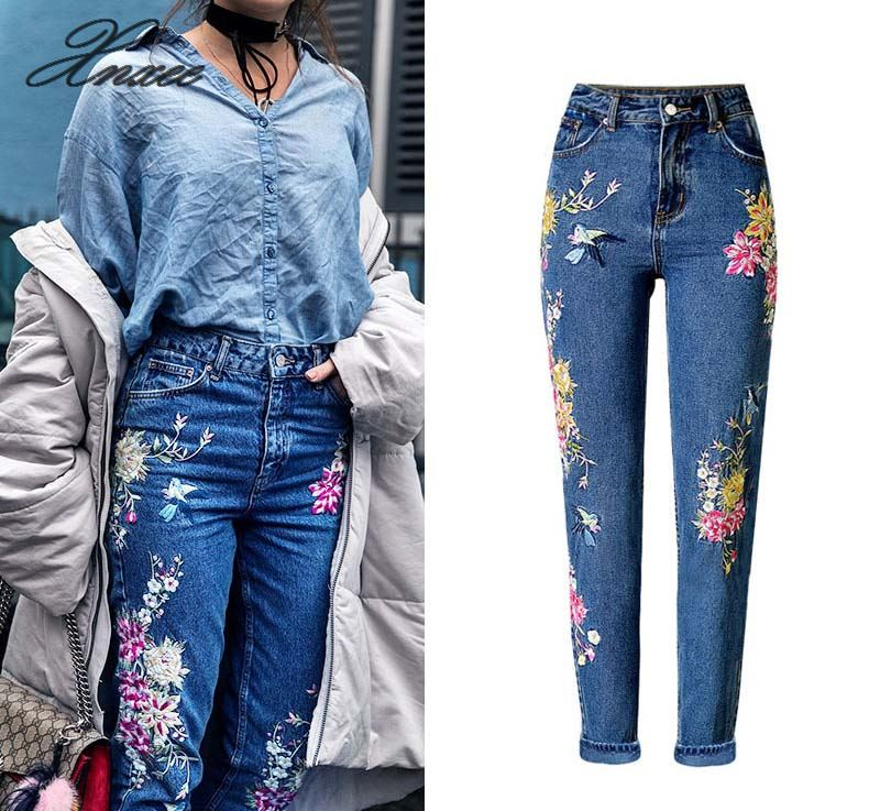 New Fashion Clothes Women Denim Pants Straight Long Jeans Pants 3D Flowers Embroidery High Waist Ladies Jeans Trousers in Jeans from Women 39 s Clothing