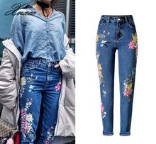 New Fashion Clothes Women Denim Pants Straight Long Jeans Pants 3D Flowers Embroidery High Waist Ladies Jeans Trousers цены онлайн