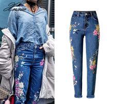Новые Модная Одежда Женские Джинсовые Брюки Прямые Длинные Джинсовые Штаны 3D Цветы Вышивка Высокой