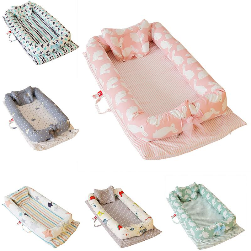 90 X 55 X 15cm High Quality Baby Bed Portable Foldable Baby Crib Washable Newborn Sleep Bed Travel Bed For Baby 100% Cotton