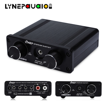 Audio Switcher 4 Input and 2 Output Audio Switch With Signal Amplification Volume Adjustment Function DC12V Power Supply 3 files 2 knives band switch top three audio inputs switch