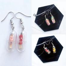 Personality Handmade 1Pair Ear Clip Colorful Humanoid Creative Cartoon Candy Color Human Random Drop Earring