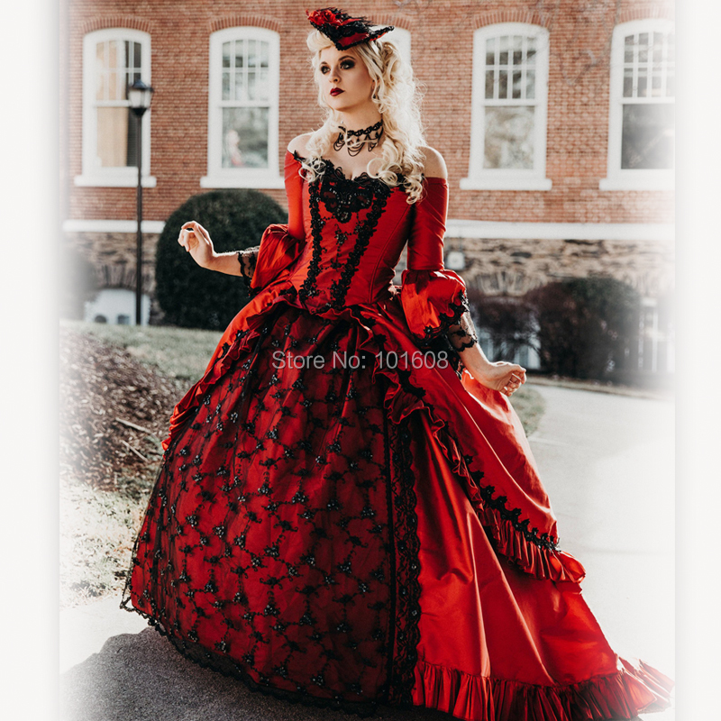New!Eras Red satin with Black Lace Witch Halloween Cosplay dress Colonial Georgian Renaissance Gothic Historical dress HL-478(China)