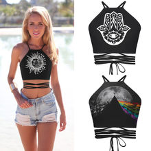 Boho Abstract Palm Print Cross Bandjes Tube Top Kleine Verse Strand Sexy Navel Vest Vrouwen(China)