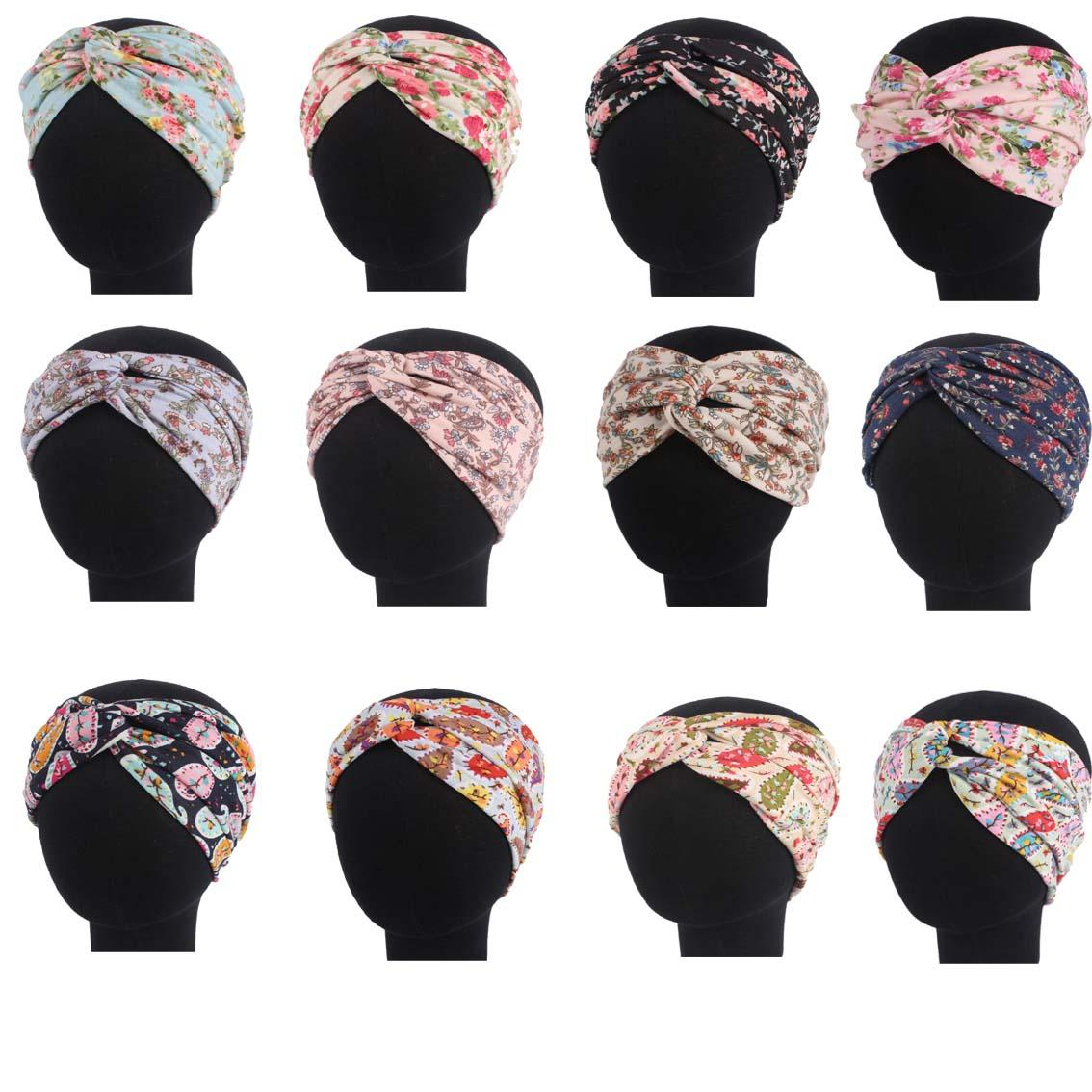 Islamic Arab Headwrap Head Wear Muslim Women Scarf Flower Print Pleated Ramadan Hair Loss Headscarf Bonnet   Skullies     Beanies   New