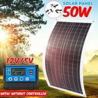 50W Flexible Solar Panel Solar Cell module + 10/20/30/40/50A Controller for Car Yacht Led Light 12V Battery Boat Outdoor Charger
