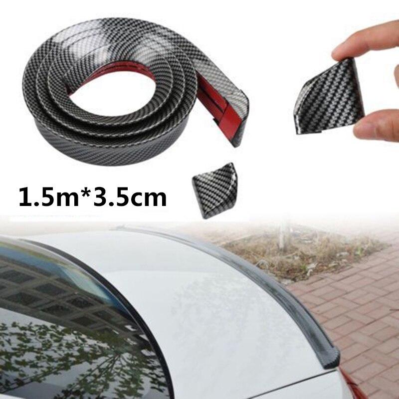 3D Carbon Fiber 1.5M Universal Car Rear Roof Trunk Spoiler Wing Lip Sticker Kit