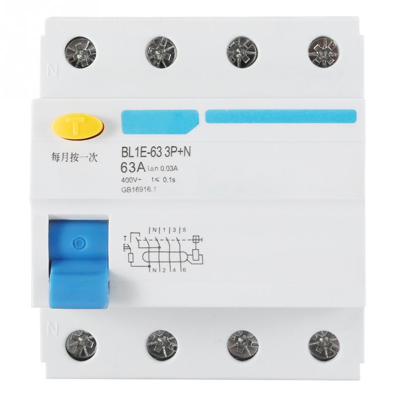 BL1E-63 3 P + N 63A RCCB Courant Résiduel Disjoncteur 230 V 30mA électrique protection contre les fuites mini Circuit disjoncteur offre Spéciale