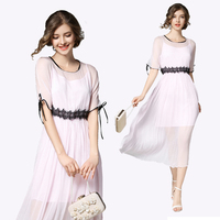 New Women dress Patchwork Lace Chiffon Silk Two Piece Dresses Pink 9434