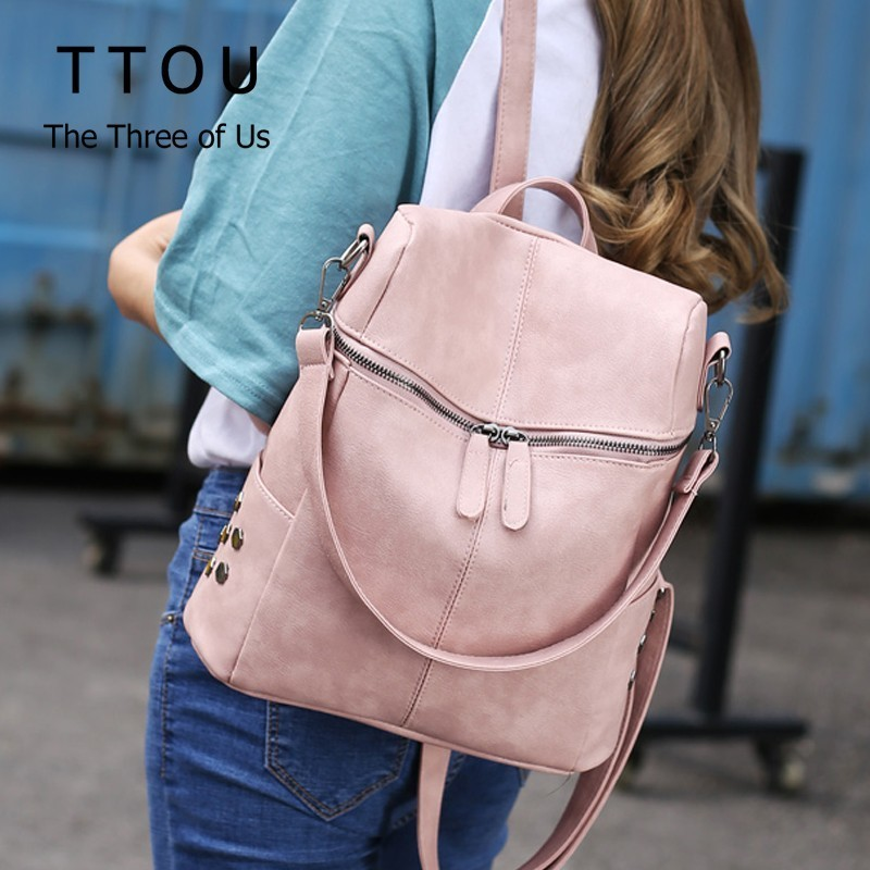 TTOU Fashion Women Backpack Quality Leather School Bags For Teenager  Girls Large School Backpack Vintage Solid Shoulder Bags