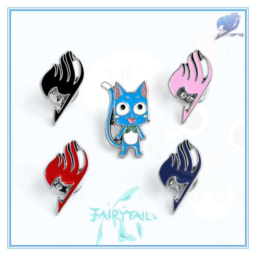 Giancomics Hot Anime Fairy Tail Badge Cute Figure Metal Badge Icon on The Backpack for Clothing Cosplay Costume Pendant Ornament