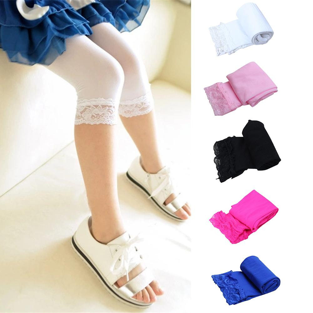 Kidlove Summer 6-11years Children Girls Lace Slim Candy Color Printing Underpants Cropped Trousers Half Pants Leggings