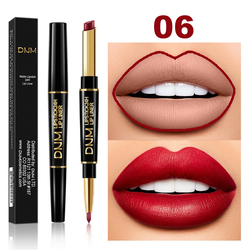 DNM 2 In 1 Lip Liner+Lipstick Long-lasting Waterproof Matte Lip Liner Pen Moisturizing Makeup Contour Cosmetics 12 Colors TSLM1