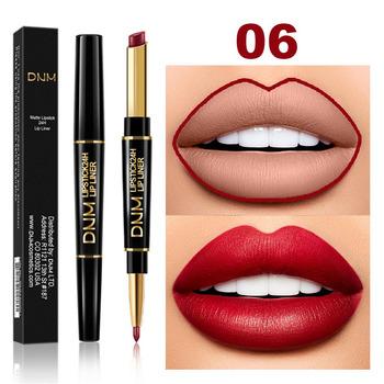DNM 2 w 1 Lip Liner + szminka długotrwała wodoodporna matowa długopis długopis nawilżający makijaż Contour kosmetyki 12 kolorów TSLM1 tanie i dobre opinie Łatwe do noszenia Naturalne Inne Pożywne 2 in 1 Lip Liner+Lipstick 1pcs shimmer lipstickothers are matte lipstick W pełnym rozmiarze