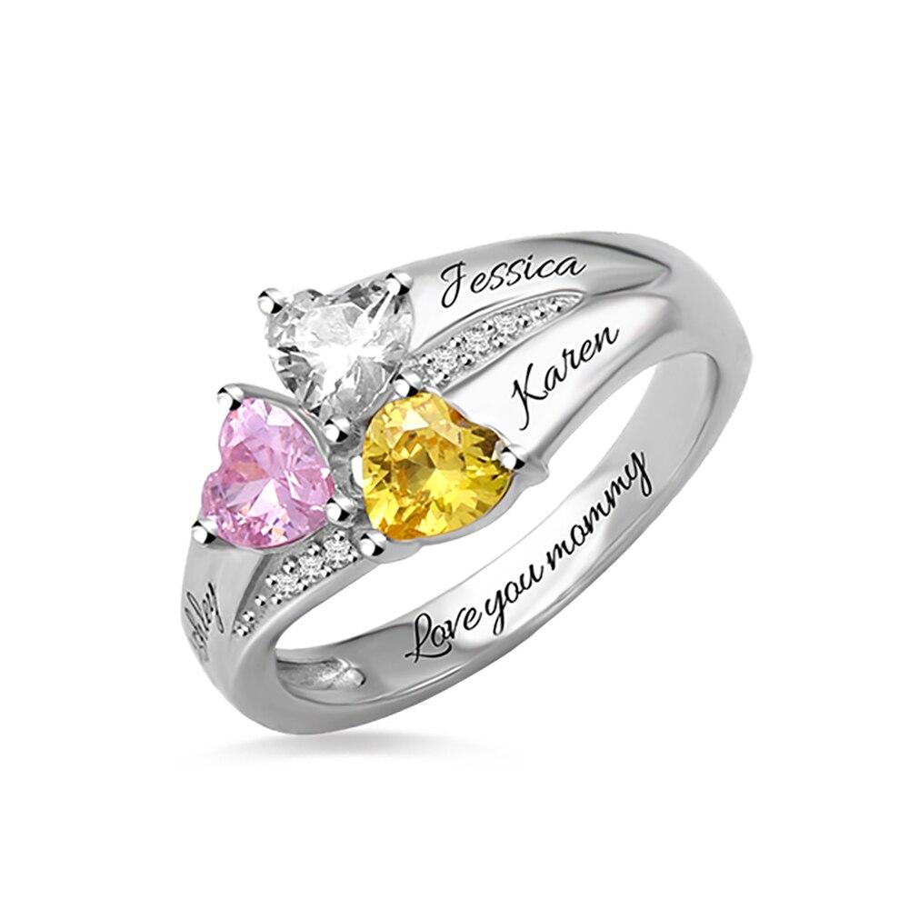 Sweey Atacado Fabrico Personalizado 3 Corações Birthstone Anel Anel de Prata 925 Nomes Gravados Presentes para Presente Mulheres Valentines