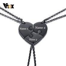 00080c8d7975 Vnox personalizado grabado nombre mejores amigos collares de la Amistad  corazón para siempre amor colgantes Set (Juego de 3)