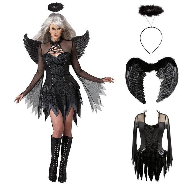 62956bd531a99 2019 Halloween Costumes For Women Fantasy Cosplay Party Fancy Dress Adult  Black Fallen Angel Costume With Angel Wings