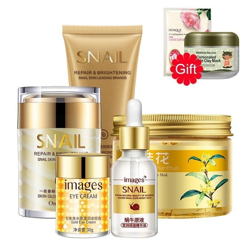 Ensemble de soins de la peau du visage hydratant blanchissant crème pour le visage masque pour les yeux liquide sérum nettoyant + 2 cadeaux masque en argile à bulles et masque pour le visage