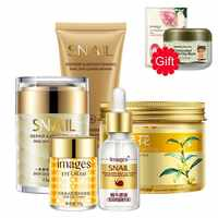 Face Skin Care Set Moisturizing Whitening Face Cream Eye Mask Liquid Serum Cleanser + 2 Gifts Bubble Clay Mask And Face Mask