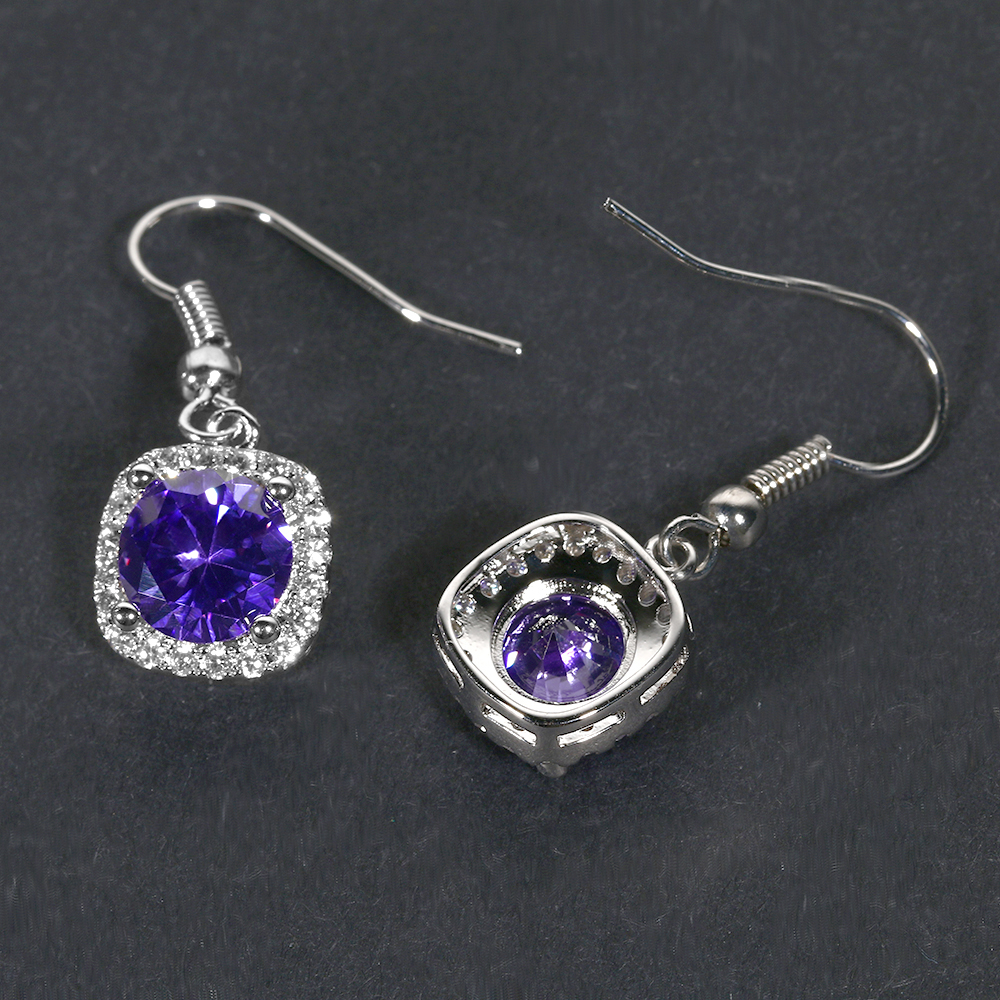 Natural Amethyst Drop Earrings Women 39 s Real Solid 925 Silver Jewelry Earrings New Square Drop Earring Wedding Birthday Gifts in Earrings from Jewelry amp Accessories