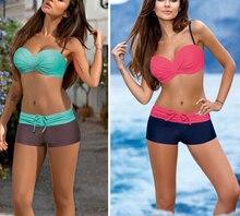 купить New Trendy Sexy Women Beachwear bandage Bandeau Bikini Set Floral Swimsuit Low waist belt Swimwear Push Up Padded Bathing Suit по цене 322.73 рублей