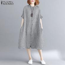 2019 Plus Size ZANZEA Summer Women Casual O Neck Short Sleeve Loose Shirt Dress Vintage Check Plaid Party Baggy Vestido Sundress(China)