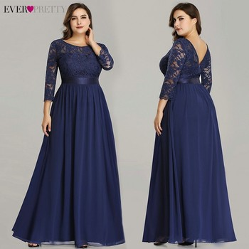 Ever-Pretty Elegant Prom Dresses with Sleeves Navy Blue Lace Chiffon A Line Floor Length Formal Party Evening Gowns EP07412NB 2