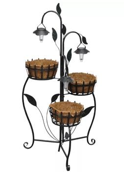 VidaXL Solar LED Plant Rack With 3 Baskets And 3 LED Lights Indoor Outdoor Plant Stand Flower Stand Corner Shelf European Pot