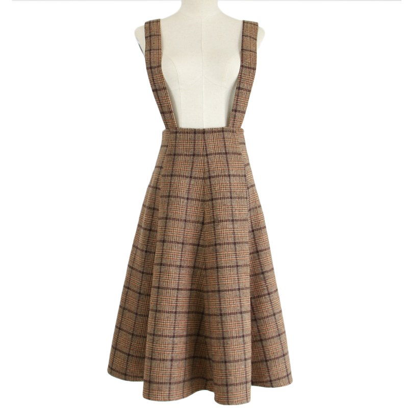 Japan Mori Girl Sundress Autumn Korean Fashion Women Sleeveless Vest Brown Plaid Woolen Winter Dresses Spaghetti Strap Vestidos 17