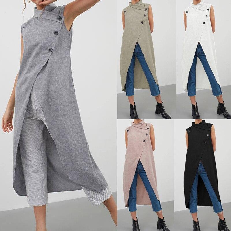 Celmia Women Retro Blouse Asymmetrical Top 2019 Summer Sleeveless Button Down Casual Split Long Shirt Loose Blusas Plus Size 5XL